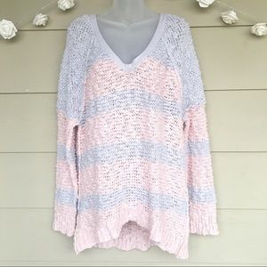 Free People • Pastel Stripe Boucle V-Neck Sweater